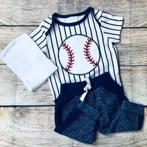 Newborn Baby Boy Baseball 3pc set